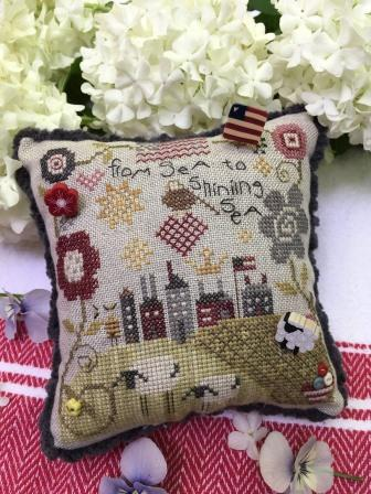 Shepherd's Bush - From Sea to Sea Pincushion Kit-Shepherds Bush - From Sea to Sea Pincushion Kit - patriotic, home, sheep, ocean American flag, cross stitch