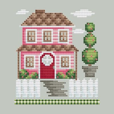 Shannon Christine Designs - Rose Farm Collection - Farm House-Shannon Christine Designs - Rose Farm Collection - Farm House, pink, houses, family, cross stitch