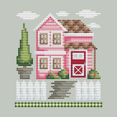 Shannon Christine Designs - Rose Farm Collection - Guest House-Shannon Christine Designs - Rose Farm Collection - Guest House, FLOWERS, PINK, cross stitch, home, family