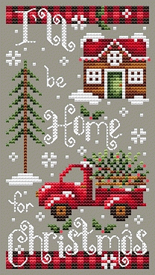 Shannon Christine Designs - Home for Christmas-Shannon Christine Designs - Home for Christmas, red truck, Christmas tree, winter, cross stitch