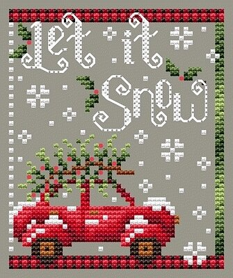 Shannon Christine Designs - Let it Snow-Shannon Christine Designs - Let it Snow, red car, Christmas tree, Christmas, snow, winter, cross stitch