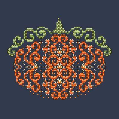 Shannon Christine Designs - Orange Swirl Pumpkin-Shannon Christine Designs - Orange Swirl Pumpkin, fall, autumn, cross stitch