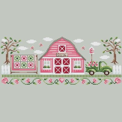 Shannon Christine Designs - Rose Farm Collection - Pink Barn-Shannon Christine Designs - Rose Farm Collection - Pink Barn, ROSES, flowers, cross stitch