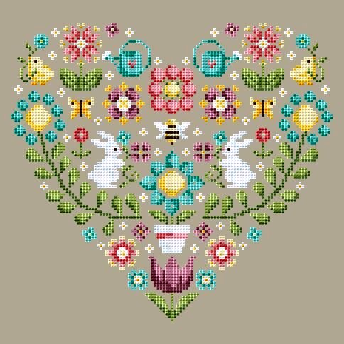 Shannon Christine Designs - Spring Heart-Shannon Christine Designs - Spring Heart, bunnies, bees, flowers, watering can, garden, Easter, cross stitch