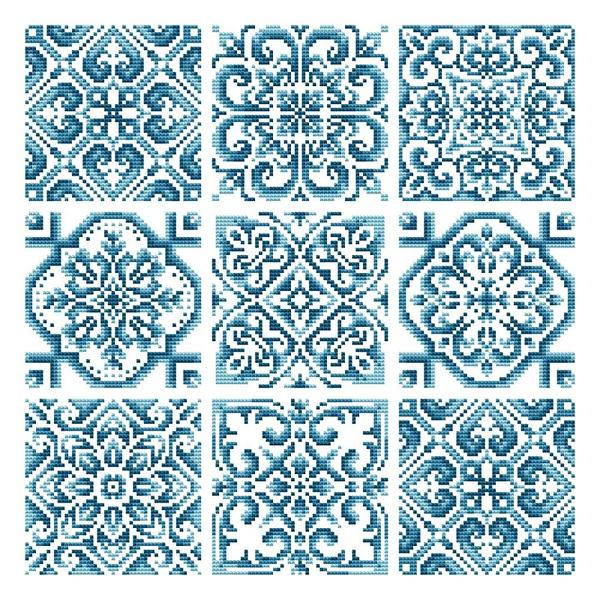 Shannon Christine Designs - Hand Painted Tiles-Shannon Christine Designs - Hand Painted Tiles, quaker, snowflakes, cross stitch