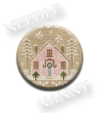 Stitch Dots - Glitter House 2 Needle Nanny by Country Cottage Needleworks-Stitch Dots - Glitter House 2 Needle Nanny by Country Cottage Needleworks, Christmas, houses, pastels, glitter, cross stitch, decorating,