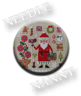 Stitch Dots - Sampler Claus Needle Nanny by Lizzie Kate-Stitch Dots - Sampler Claus Needle Nanny by Lizzie Kate, santa claus, Christmas, magnets, needles, scissors, accessories, cross stitch