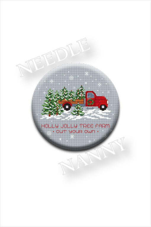 Stitch Dots - Tree Farm Needle Nanny by Sue Hillis Designs-Stitch Dots - Tree Farm Needle Nanny by Sue Hillis Designs, RED TRUCK, Christmas tree, snow, magnet, cross stitch