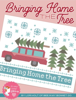 It's Sew Emma Stitchery - Bringing Home the Tree-Its Sew Emma Stitchery - Bringing Home the Tree, Christmas, Christmas tree, station wagon, family car, decorating, gifts, cross stitch, Lori Holt
