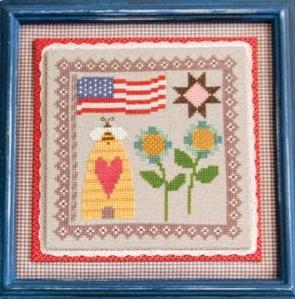 It's Sew Emma Stitchery - Prim Stitch Series - Patriotism & Industry-Its Sew Emma Stitchery - Prim Stitch Series - Patriotism  Industry, American Flag, beehive,