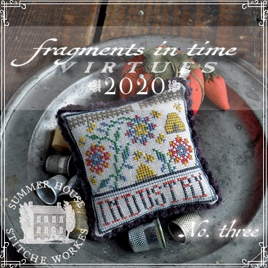 Summer House Stitche Workes - Fragments in Time - Virtues 2020 #3 Industry-Summer House Stitche Workes - Fragments in Time - Virtues 2020 3 Industry, book of virtues, bees, beehive, honey, cross stitch