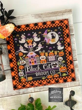Stitching With The Housewives - Calendar Crates 10 - October-Stitching With The Housewives - Calendar Crates 10 - October, pumpkins, witch, black cat, ghosts, moon, Halloween, cross stitch,