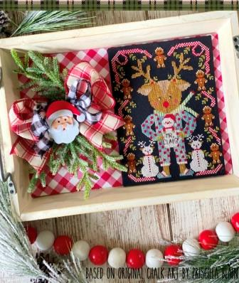 Stitching With The Housewives - A Sip of the Seasons - Rudolph and Mr. Claus-Stitching With The Housewives - A Sip of the Seasons - Rudolph and Mr. Claus, Christmas, Rudolph, reindeer, Santa Claus, cross stitch