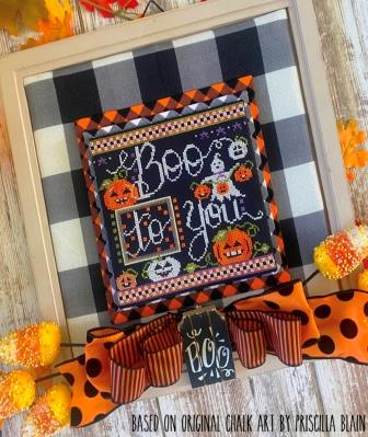 Stitching With The Housewives - Boo to You-Stitching With The Housewives - Boo to You, Halloween, ghost, fall, trick or treat, pumpkins, cross stitch