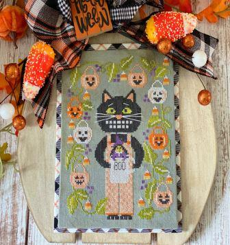 Stitching With The Housewives - A Sip of the Seasons - Calvin & Trixie-Stitching With The Housewives - A Sip of the Seasons - Calvin  Trixie, black cat, pumpkins, fall, Halloween, candy corn, cross stitch