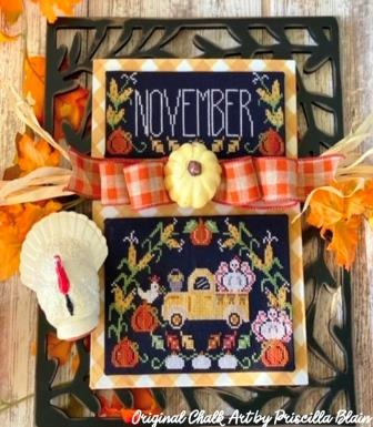 Stitching With The Housewives - Truckin' Along 11 - November-Stitching With The Housewives - Truckin Along 11 - November, fall, Thanksgiving, pumpkins, calendar, chicken, cross stitch