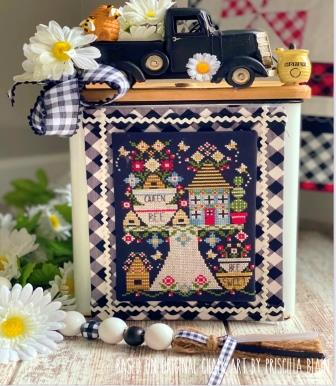 Stitching With The Housewives - Up On a Pedestal - Queen Bee Bakery-Stitching With The Housewives - Up On a Pedestal - Queen Bee Bakery, baking, mixing bowl, cake, cookies, tiered stand, kitchen, cross stitch