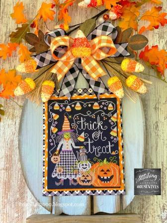 Stitching With The Housewives - Trick or Treat-Stitching With The Housewives - Trick or Treat,  witch, Halloween, pumpkins, candy corn, cross stitch