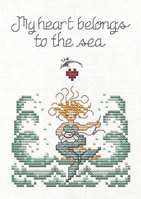 Sue Hillis Designs - My Heart Belongs to the Sea - Cross Stitch Chart with Charm-Sue,Hillis,Designs,My,Heart,Belongs,to, the,Sea,Cross,Stitch,Chart,with,Charm,mermaid,waves, stitching, heart, dolphin,silver charm, needle, hoop,
