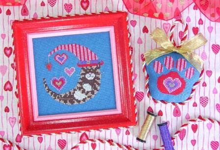 Stitchy Kitty - Valentine Kitty Moon - Cross Stitch Pattern-Stitchy Kitty, Valentine Kitty Moon, kitty with a hat, love, hearts, Valentine's Day,  Cross Stitch Pattern