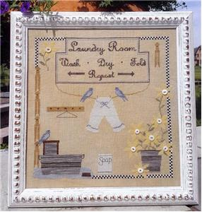 Samplers Not Forgotten - Laundry Day-Samplers Not Forgotten - Laundry Day, washing, drying clothes, clothes line, cross stitch