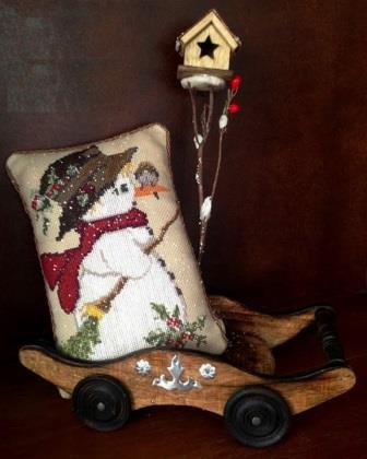 Twin Peak Primitives - Snowman with Bird-Twin Peak Primitives - Snowman with Bird, winter, snowman, snow, friends, cross stitch