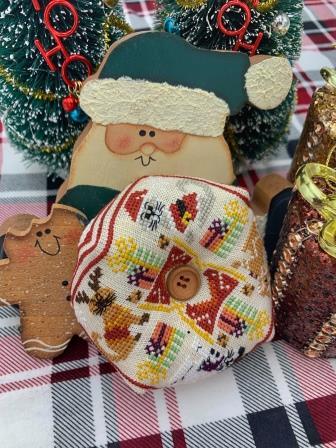 Stitchy Prose - Merry Meowmas Biscornu-Stitchy Prose - Merry Meowmas Biscornu, cat, kitty, pin cushion, ornament, cross stitch