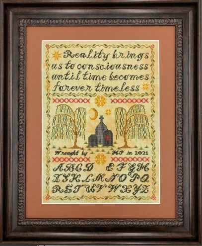 Stitchy Prose - Forever Timeless Mourning Sampler-Stitchy Prose - Forever Timeless Mourning Sampler, cemetary, grave, willow trees, moon, cross stitch