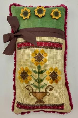 Stitchy Prose - Sunflower Pinkeep-Stitchy Prose - Sunflower Pinkeep, summer, flowers, pillow, cross stitch