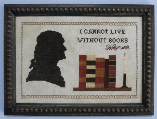 Stitches Through Time - Not Without Books-Stitches Through Time - Not Without Books, reading, Thomas Jefferson, library, book club, cross stitch, classics,