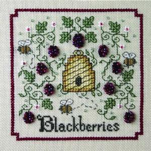 The Sweetheart Tree - A-Buzz for Blackberries-The Sweetheart Tree, A-Buzz for Blackberries, Beehive, bees, flowers,Cross Stitch,