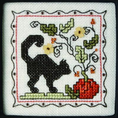 The Sweetheart Tree - Teenie Tweenie - Itty Bitty Kitty - Teenie Tiny Halloween II - Cross Stitch Pattern-The Sweetheart Tree, Teenie Tweenie, Itty Bitty Kitty, Teenie Tiny Halloween II, black kitty, pumpkin, yellow flowers, Halloween, fall,  Cross Stitch Pattern