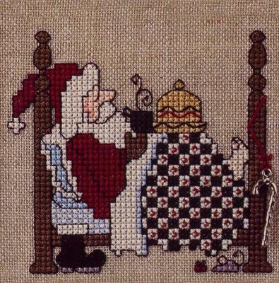 The Sweetheart Tree - Sleepy Santa - Cross Stitch Kit-The Sweetheart Tree, Sleepy Santa, Santa Claus, mouse, hot chocolate, Santa's bed, candy cane, Cross Stitch Kit