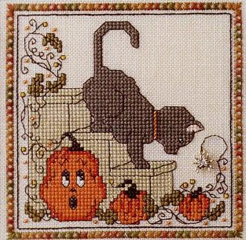 The Sweetheart Tree - Pumpkin Kitty-The Sweetheart Tree - Pumpkin Kitty, pumpkins, Halloween, cats, cross stitch