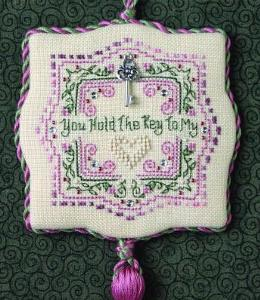 The Sweetheart Tree - Teenie Tweenie - You Hold The Key To My Heart-The Sweetheart Tree, Teenie Tweenie, You Hold The Key To My Heart, hearts, love, romance, flowers, ornament, pink  green, tassel, marriage, Cross Stitch Pattern