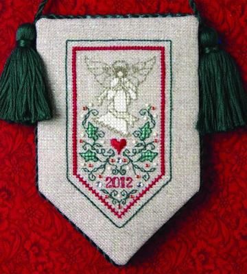 The Sweetheart Tree - Teenie Tweenie - Teenie Christmas Angel - Cross Stitch Pattern-The Sweetheart Tree, Teenie Tweenie,  Teenie Christmas Angel, heart, 2012, ornament, tassels, green and red, God, Cross Stitch Pattern