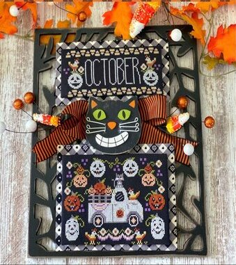 Stitching With The Housewives - Truckin' Along 10 - October-Stitching With The Housewives - Truckin Along 10 - October, Halloween, pumpkins, truck, cross stitch