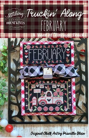 Stitching With The Housewives - Truckin' Along 02 - February-Stitching With The Housewives - Truckin Along 02 - February, hearts, Valentines Day, love, country, trucks, calendar, cross stitch