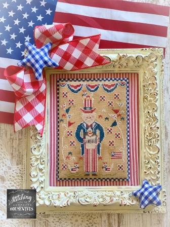 Stitching With The Housewives - Sam and Liberty-Stitching With The Housewives - Sam and Liberty, patriotic, USA, American, Uncle Sam, cross stitch