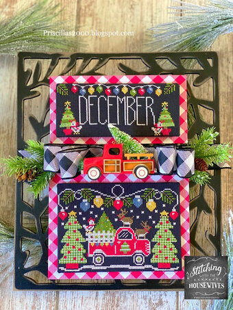 Stitching With The Housewives - Truckin' Along 12 - December-Stitching With The Housewives - Truckin Along 12 - December, Christmas, trucks, calendar, cross stitch