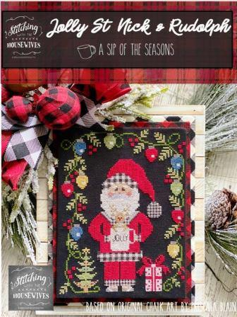 Stitching With The Housewives - A Sip of the Seasons - Jolly St Nick & Rudolph-Stitching With The Housewives - A Sip of the Seasons - Jolly St Nick  Rudolph, Christmas, reindeer, red nosed, cup, cross stitch