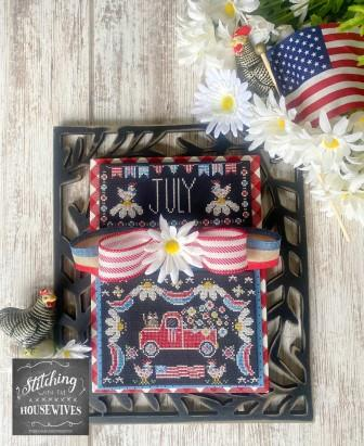 Stitching With The Housewives - Truckin' Along - July-Stitching With The Housewives - Truckin Along - July, trucks, farm, animals, country, patriotic, America, cross stitch