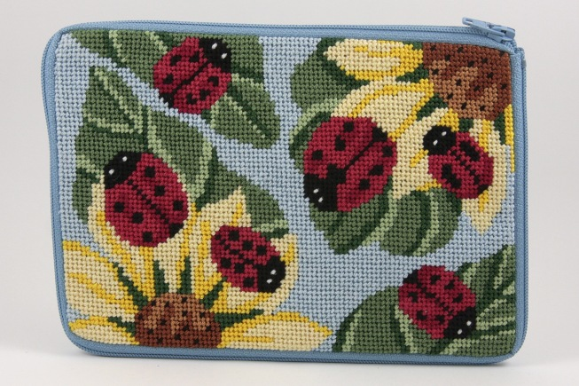 Alice Peterson Needlepoint - Stitch & Zip - Ladybugs - Cosmetic Case-Alice Peterson Needlepoint - Stitch & Zip - Ladybugs - Cosmetic Case