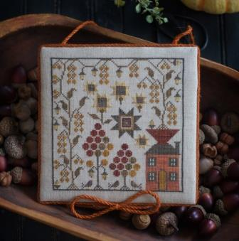 Plum Street Samplers - Sampler House IV-Plum Street Samplers  - Sampler House lV, cross stitch samplers, needlework, historic, alphabet, teaching, house,fall, pumpkins,