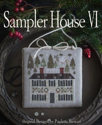 Plum Street Samplers - Sampler House VI-Plum Street Samplers - Sampler House VI, houses, samplers, Christmas house, dove, trees, cross stitch