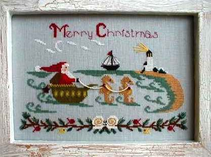 By The Bay Needleart - Santa At The Seashore-By The Bay Needleart, Santa At The Seashore, Santa Claus, seahorses, lighthouse, sailboat,seashells, waves, Christmas eve,Cross Stitch Pattern