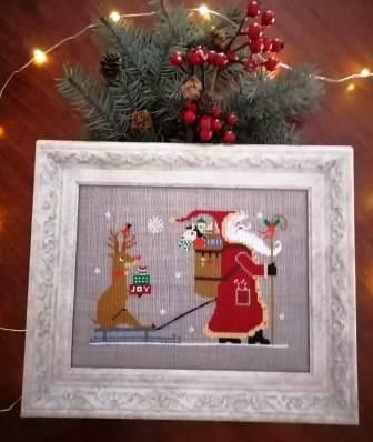 Twin Peak Primitives - Rudolph & Santa-Twin Peak Primitives - Rudolph  Santa, Christmas, Santa Claus, Rudolph the red nosed reindeer, Christmas Eve, cross stitch