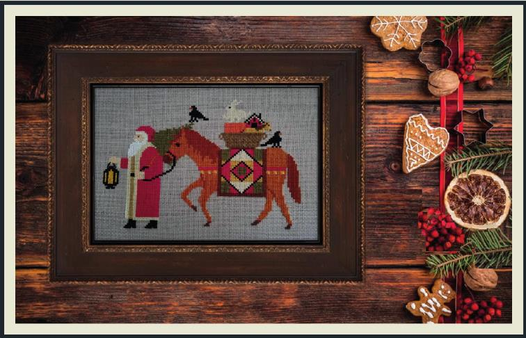Twin Peak Primitives - Santa's 2019 Trilogy I-Twin Peak Primitives - Santas 2019 Trilogy I, Christmas, horse, rabbit, crow, gifts, Santa Claus, cross stitch