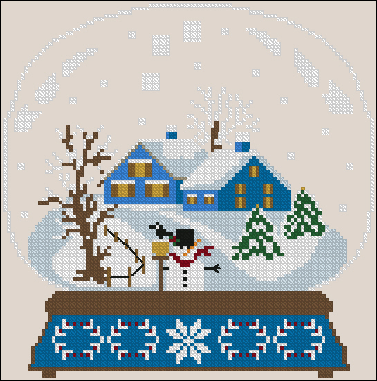 Twin Peak Primitives - Blue Houses Snow Globe-Twin Peak Primitives - Blue Houses Snow Globe, winter, snow, houses, cross stitch, snowman,