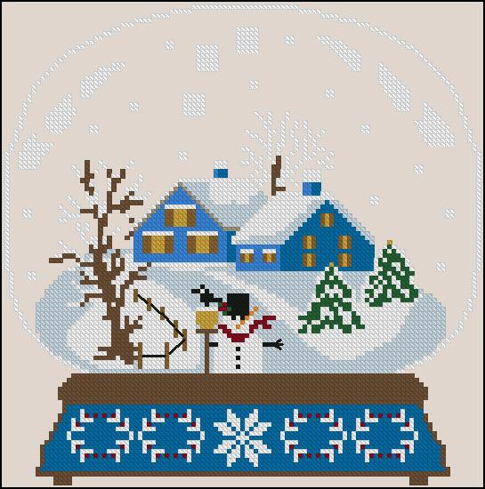 Twin Peak Primitives - Blue Houses Snow Globe-Twin Peak Primitives - Blue Houses Snow Globe, winter, snow, houses, cross stitch, snowman,